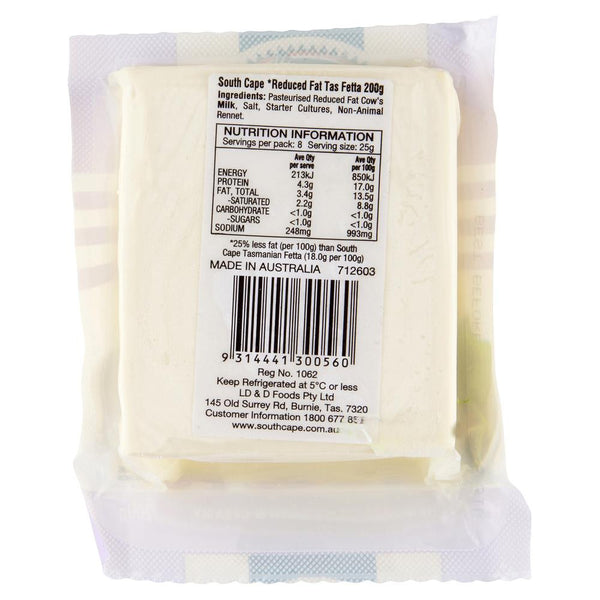 Fetta South Cape Reduced Fat Tasmanian 200g , Frdg1-Cheese - HFM, Harris Farm Markets  - 2
