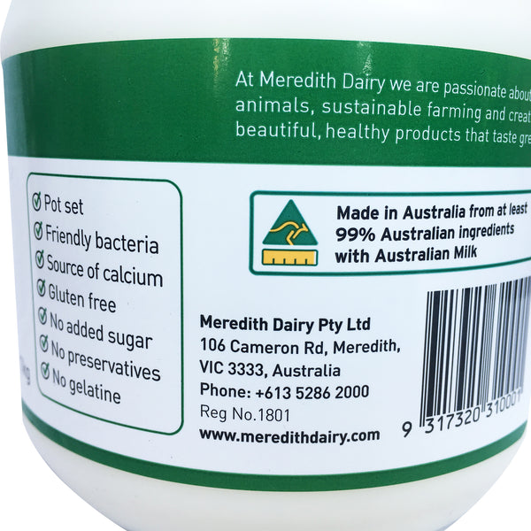 Meredith Dairy - Yoghurt Sheep Milk - Probiotic Cultures Green label (1kg)