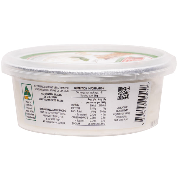 Monjay Mezza Garlic Dip | Harris Farm Online