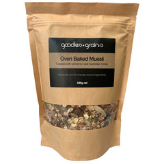 Goodies & Grains - Oven Baked Muesli - Toasted with cinnamon and Honey (400g)