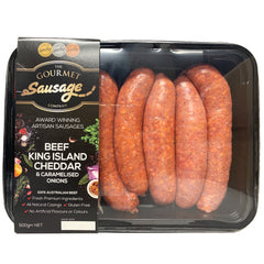 Sausages - Beef King Island Cheddar and Caramelised Onions (500g) The Gourmet Sausage