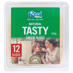 Real Tasty Cheddar Cheese Slices x12 250g