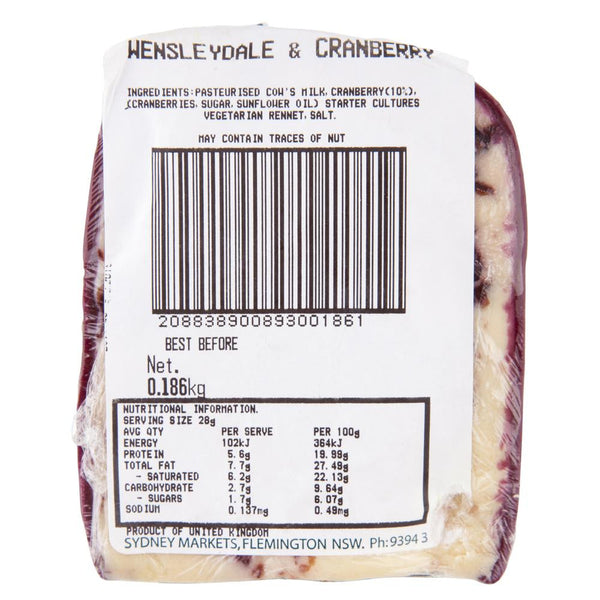 Wensleydale Cranberry 120-180g , Frdg1-Cheese - HFM, Harris Farm Markets  - 2