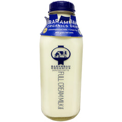 Barambah Organics - Milk Full Cream - Unhomogenised Cream Top (Glass Bottle, 946ml)