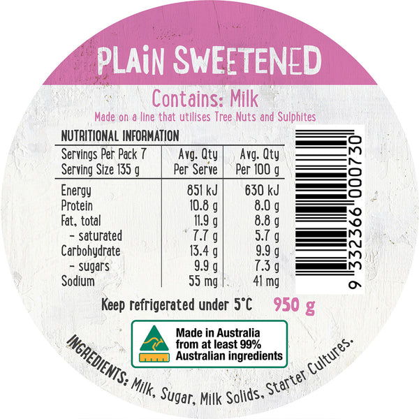 Harris Farm - Yoghurt - Plain Sweetened | Harris Farm Online
