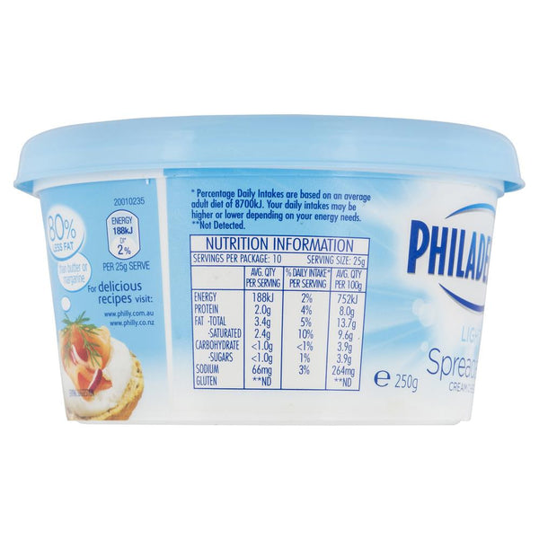 Philadelphia Light Spreadable Cream Cheese 250g , Frdg1-Cheese - HFM, Harris Farm Markets  - 3