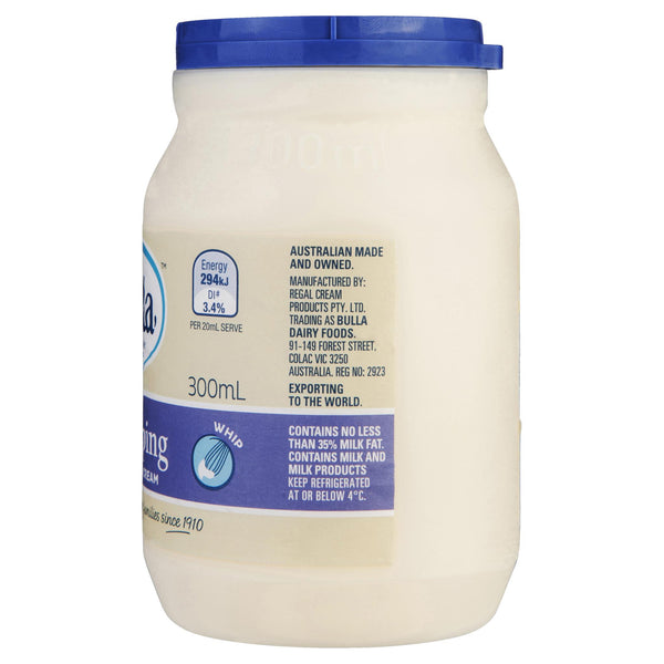 Bulla Cream Whipping 300ml , Frdg2-Dairy - HFM, Harris Farm Markets  - 3