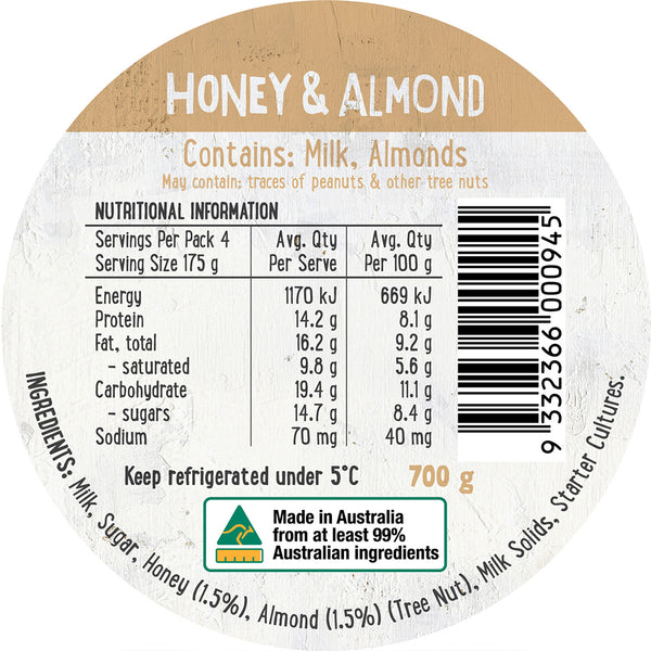 Harris Farm - Yoghurt Honey & Almond (700g)