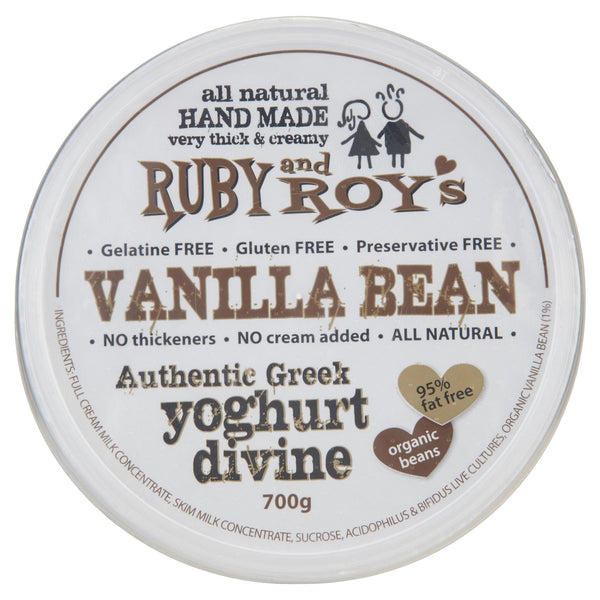Ruby & Roy's Yoghurt Vanilla Bean Greek Divine 700g , Frdg2-Dairy - HFM, Harris Farm Markets  - 3