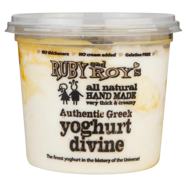 Ruby & Roy's Yoghurt Passionfruit Authentic Greek Divine 350g , Frdg2-Dairy - HFM, Harris Farm Markets  - 1