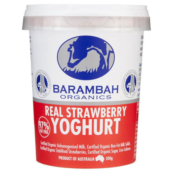 Barambah Organics Yoghurt Real Strawberry 500g , Frdg2-Dairy - HFM, Harris Farm Markets  - 1