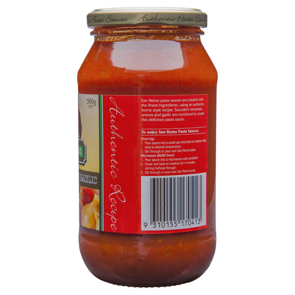 San Remo Pasta Sauce Onion & Garlic 500g , Grocery-Pasta - HFM, Harris Farm Markets  - 3