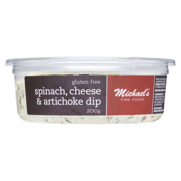 Michael's Fine Foods Spinach, Cheese & Artichoke Dip 200g , Frdg1-Antipasti - HFM, Harris Farm Markets  - 1