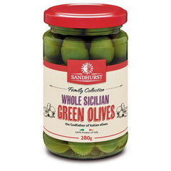 Sandhurst Whole Sicilian Green Olives 280g