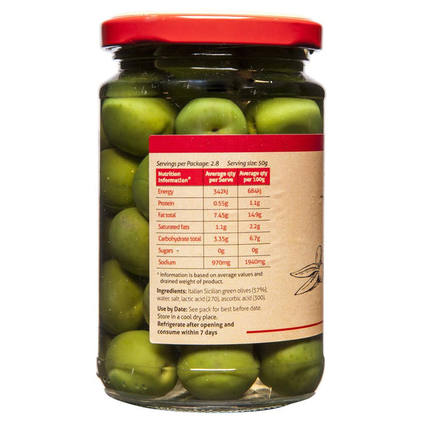 Sandhurst Whole Sicilian Green Olives 280g , Grocery-Antipasti - HFM, Harris Farm Markets  - 2