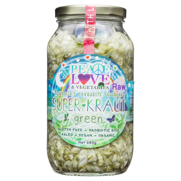 Peace Love & Vegetables Raw Green Super Kraut 680g , Grocery-Antipasti - HFM, Harris Farm Markets  - 1
