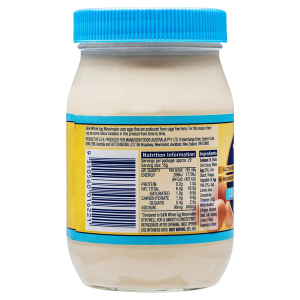 S&W Egg Mayo Light 440g , Grocery-Condiments - HFM, Harris Farm Markets  - 2