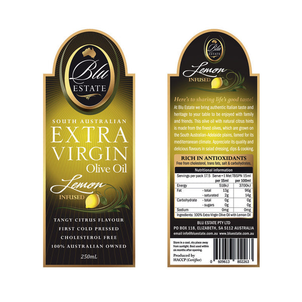 Blu Estate Extra Virgin Olive Oil Lemon Infused 250ml