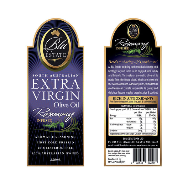 Blu Estate - Extra Virgin Olive Oil - Rosemary Infused (250mL)