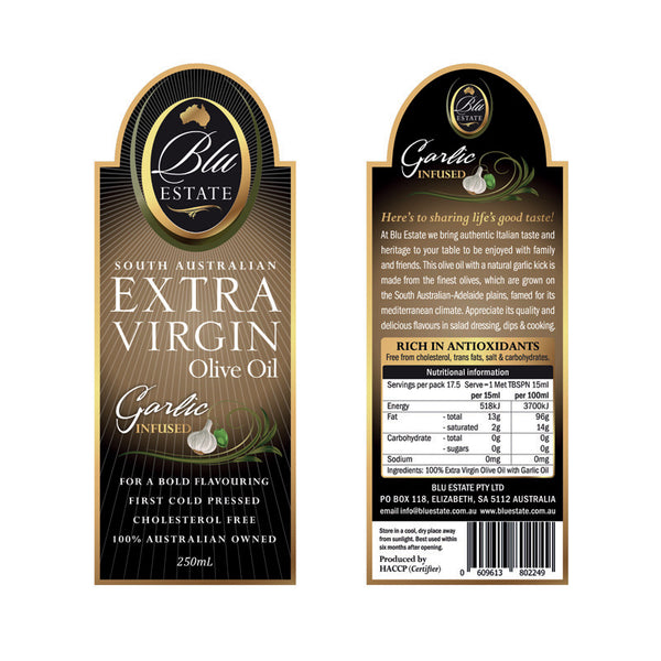 Blu Estate Extra Virgin Olive Oil Garlic Infused 250ml