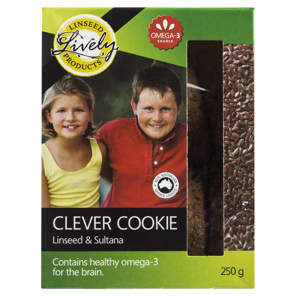 Lively Clever Cookie Linseed Sultana 250g , Grocery-Biscuits - HFM, Harris Farm Markets  - 1