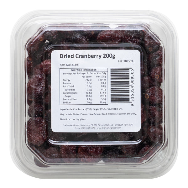 The Market Grocer Cranberries Dried | Harris Farm Online