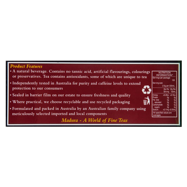 Madura Tealeaf Premium 200g , Grocery-Coffee - HFM, Harris Farm Markets  - 3