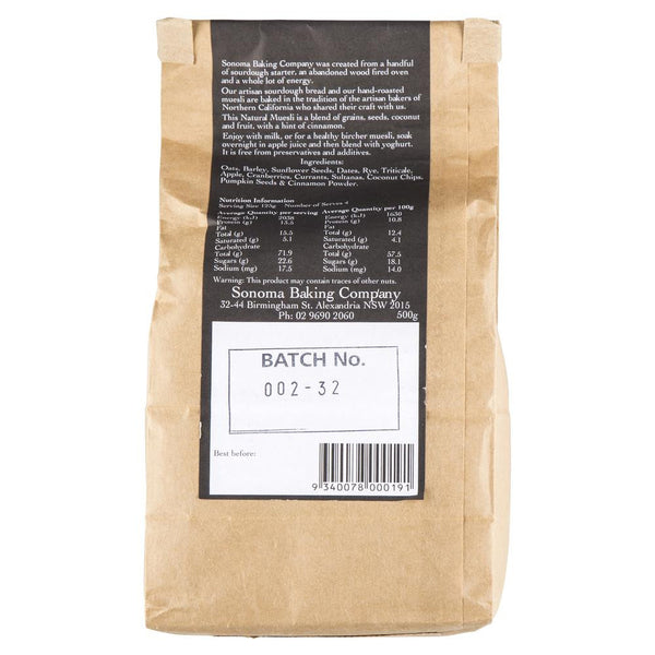 Muesli Raw Natural 500g Sonoma , Grocery-Cereals - HFM, Harris Farm Markets  - 2
