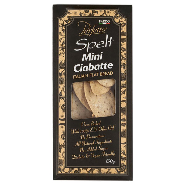 Perfetto Spelt Mini Ciabatte 150g , Grocery-Biscuits - HFM, Harris Farm Markets  - 1