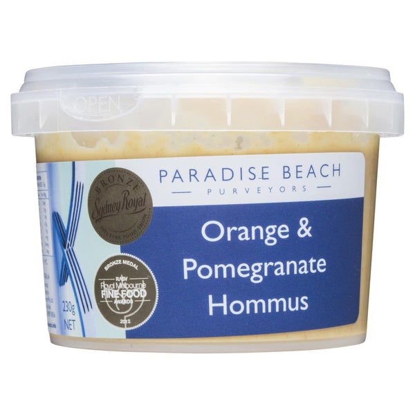 Paradise Beach Purveyors Orange & Pomegranate Hommus 230g , Frdg1-Antipasti - HFM, Harris Farm Markets  - 1