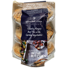Simmone Logue - Pies Chunky Angus Beef - with Garden Vegetables (3 pies x 220g)