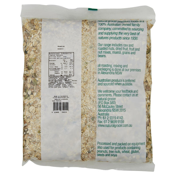 Natural Grocer Muesli Natural 750g , Grocery-Cereals - HFM, Harris Farm Markets  - 2