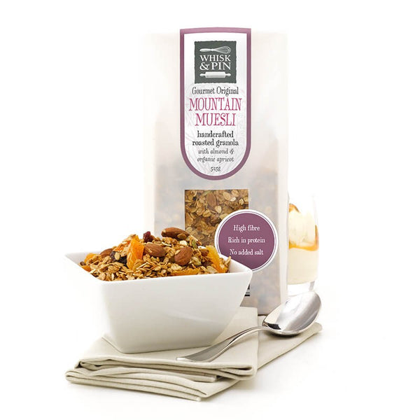 Whisk and Pin Mountain Muesli Roasted Granola with Almonds and organic Apricot 525g