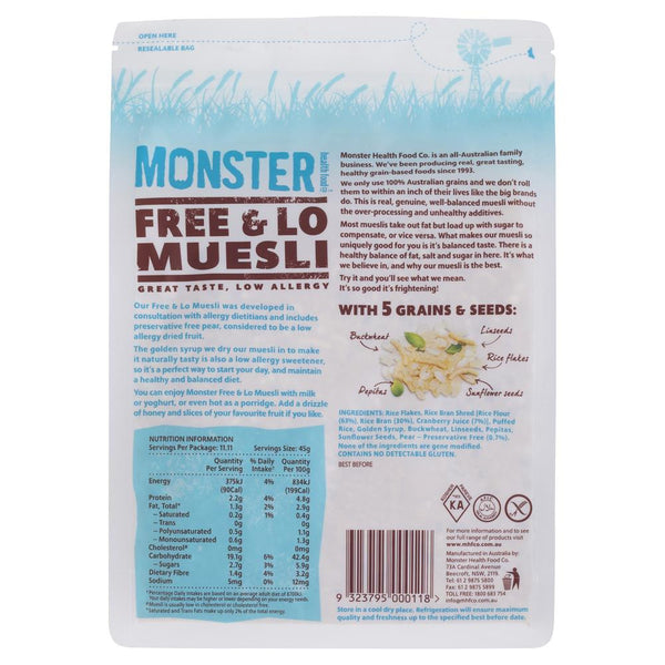 Monster Muesli Free & Lo 500g , Grocery-Breakfast - HFM, Harris Farm Markets  - 2