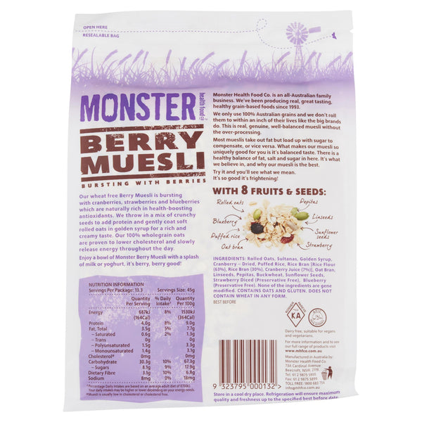 Monster Muesli Berry 600g , Grocery-Breakfast - HFM, Harris Farm Markets  - 2
