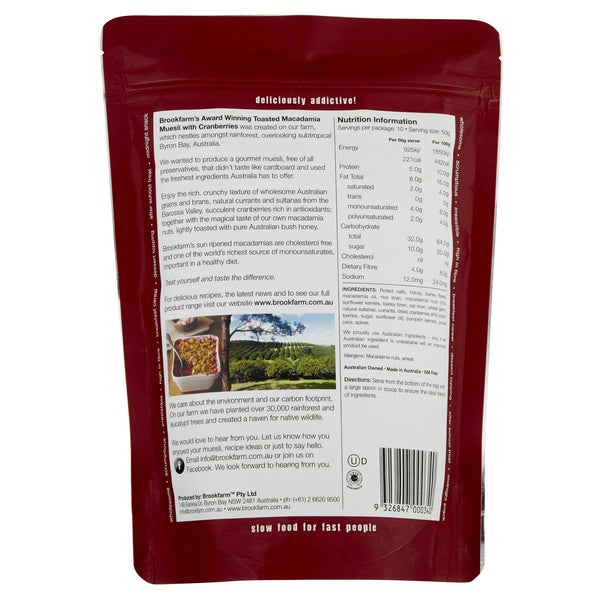 Muesli Toasted Macadamia Cranberries 500g Brookfarm , Grocery-Cereals - HFM, Harris Farm Markets  - 2