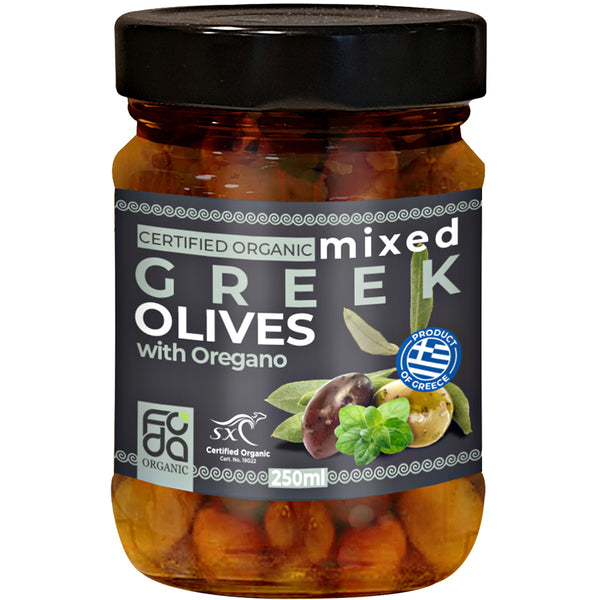 Foda Organic Mixed Greek Olives with Oregano | Harris Farm Online