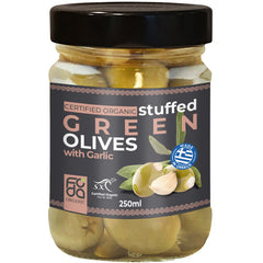 Foda Organic Stuffed Green Olives with Garlic | Harris Farm Online