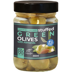 Foda Organic Stuffed Green Olives with Almonds | Harris Farm Online