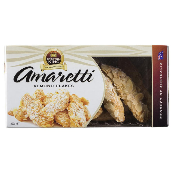 Crostoli King Amaretti Almond Flakes 200g , Grocery-Biscuits - HFM, Harris Farm Markets  - 1