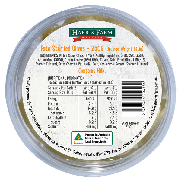 Harris Farm Feta Stuffed Olives | Harris Farm Online