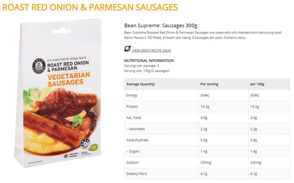 Bean Supreme - Vegetarian Sausages - Roast Red Onion & Parmesan (6 sausages, 300g)