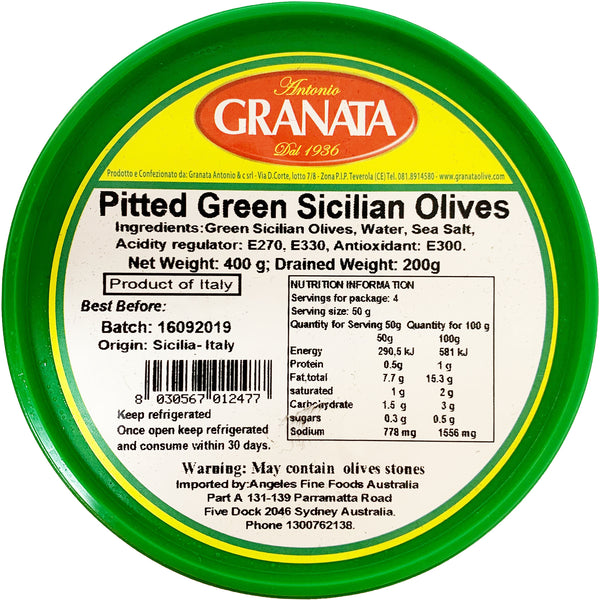 Antonio Granata - Pitted Green Sicilian Olives (200g)