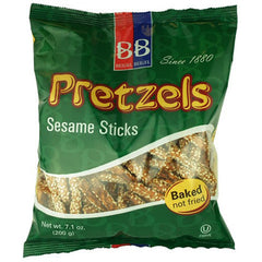 B&B Pretzel Sticks Sesame 200g , Grocery-Crackers - HFM, Harris Farm Markets