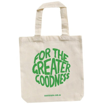 Harris Farm - Tote Carry Bag - For the Greater Goodness - GREEN Print (1 x Reusable Bag)
