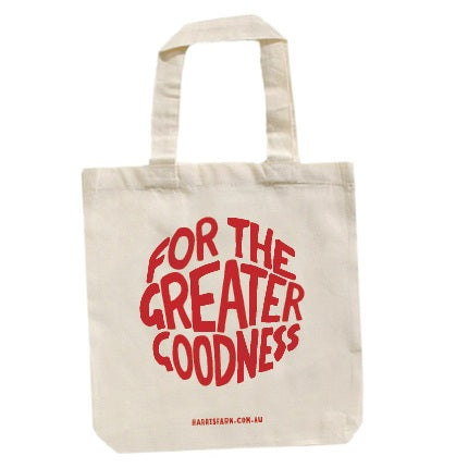 Harris Farm Tote Carry Bag - For the Greater Goodness - RED Print (1 x Reusable Bag)