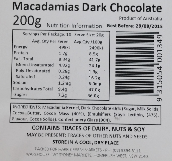 Macadamia Dark Chocolate Tub 200g , Grocery-Nuts - HFM, Harris Farm Markets  - 2