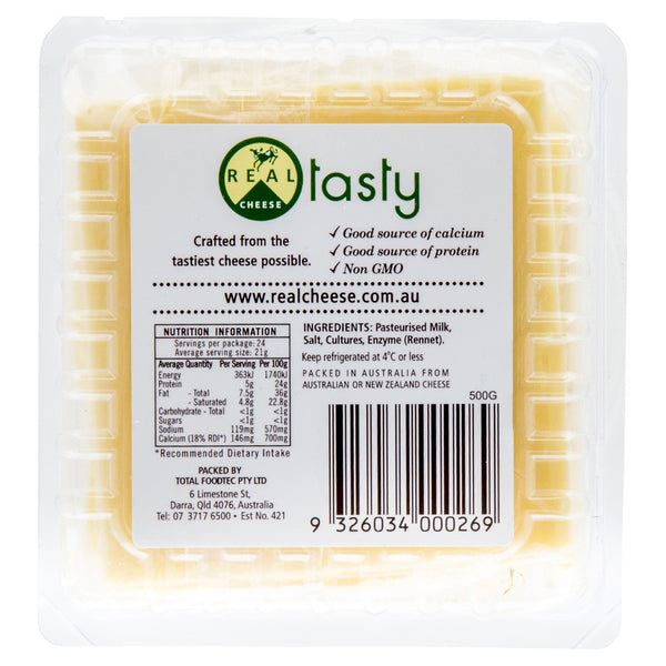 Cheddar Real Tasty Slices x 24 500g , Frdg1-Cheese - HFM, Harris Farm Markets  - 2