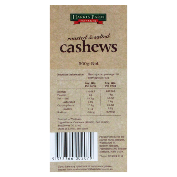 Cashews Salted 500g Harris Farm , Grocery-Nuts - HFM, Harris Farm Markets  - 2