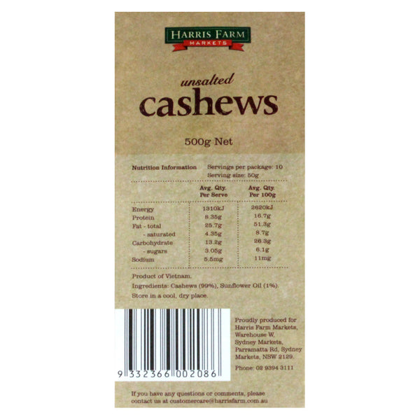 Cashews Unsalted 500g HFM , Grocery-Nuts - HFM, Harris Farm Markets  - 2